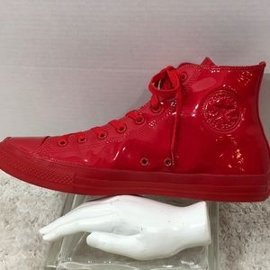 Converse red faux patent leather high top sneakers